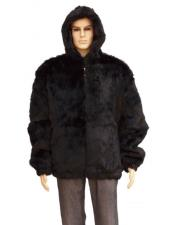 GD734 Mens Fur Black Pull Up Zipper Handmade Jacket