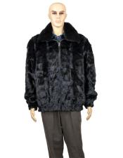 GD746 Mens Fur Black Full Skin Mink Collar Pull