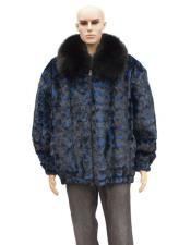 GD738 Mens Fur Blue Pull Up Zipper Sheared Genuine