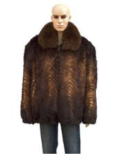 GD893 Mens Fur Genuine Mink Whiskey Jacket With Fox