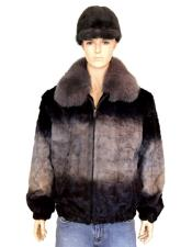 GD755 Mens Handmade Fur Grey Diamond Mink Fox Collar