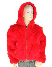 GD756 Kids Fur Handmade Red Rabbit Pull Up Zipper