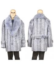 GD891 Mens Fur Sapphire Genuine Mink Paws Pea Coat