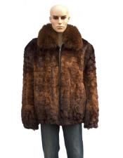 GD894 Mens Fur Genuine Mink Fox Collar Whiskey Jacket