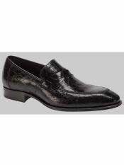 MO548 Mezlan Brand Sierpes Style Genuine Crocodile Black Loafer