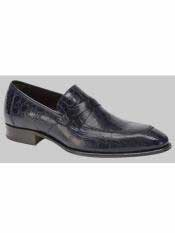 MO549 Mezlan Brand Sierpes Style Genuine Crocodile Blue Loafer
