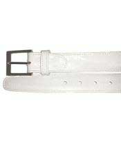Mens Genuine Eel White Belt