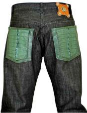 GD964 G-Gator Mens Black Genuine Hornback Alligator Jeans