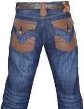 GD1009 G-Gator Mens Genuine Ostrich Navy Blue Jeans