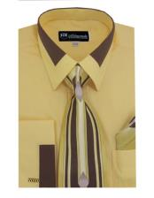 JSM-652 Mens Fashion Contrast Collar French Cuff Gold Dress