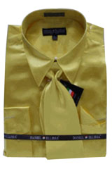 JD113 New Gold Satin Dress Shirt Tie Combo Shirts