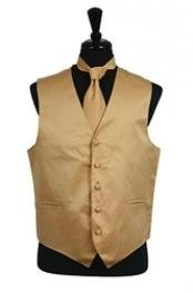 VS1038 Dress Tuxedo Wedding Vest Tie Set Gold
