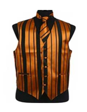 Product#VS4014DressTuxedoWeddingVest/Tie/BowtieSets(Black-GoldCombination)
