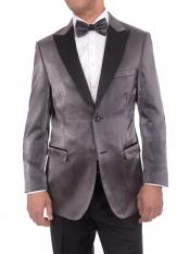Mens 2 Button Gray Satin