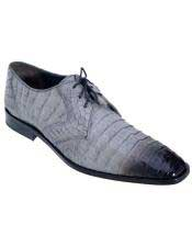 JSM-4985 Mens Gray Genuine Crocodile Los Altos Oxfords Style