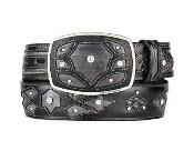 SM319 Fashion Western Belt Burnished Gray Original Eel Skin