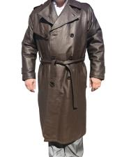 CH1576 Mens Real Leather Long Trench Gray Coat ~
