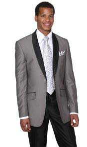 AB122 Grey ~ Gray Shawl Collar Slim narrow Style