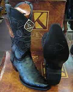 SS-9655 King Exotic Boots Gray Snip Toe Genuine Ostrich