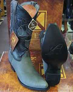 SS-8755 King Exotic Boots Gray Snip Toe Genuine Shark