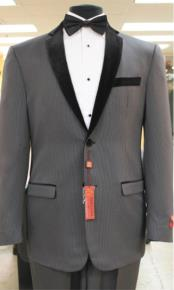 KA7456 Grey~Gray Tuxedo 2 Button Style notch collar or