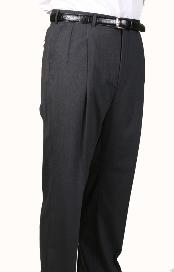 UZ1999 99% Worsted Wool Fabric Gray Parker Pleated Slacks