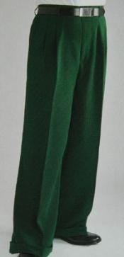 FK4997 Green Wide Leg Dress Pants Pleated Slacks baggy