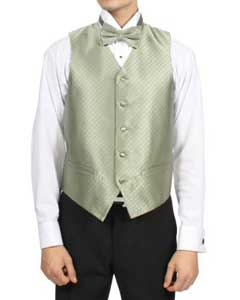 PN-M8 Mint ~ Sage Green Diamond Pattern 4-Piece Vest