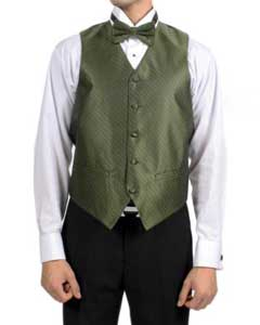 PN74 Olive Green Diamond Pattern 4-Piece Vest Set