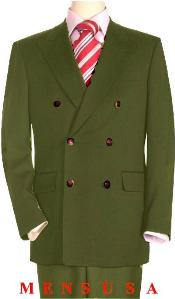 OGN286 High Quality Olive Green Double Breasted Blazer Online