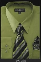 YJ6785 Dress Shirt - PREMIUM TIE - Dark lime