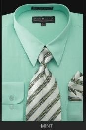 Rz7676 Dress Shirt - Premium Tie - Mint Green