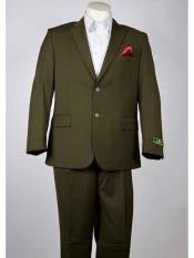 SM945 Men's Olive 2 Button Style Single Breasted Notch