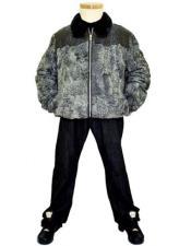 GD909 G-Gator Mens Grey Genuine Alligator/Persian Lamb Wool Jacket