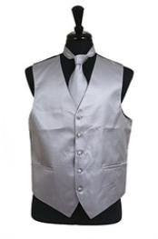 VS2034 Horizontal Rib Pattern Vest Tie Set Grey