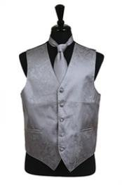 VS2784 Paisley tone on tone Vest Tie Set Grey