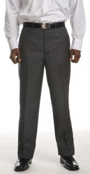 FQ-382 Men's Grey Flat-Front Dress Pants - Grey Tone