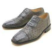Oxfords Grey Croc/Ostrich Lace-Up