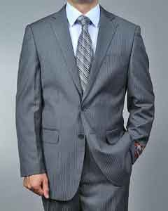 OP7589 Grey Tonal Shadow Stripe ~ Pinstripe 2-button Suit
