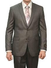M133S000 Carbon Grey Shiny Stripe ~ Pinstripe 2 Button
