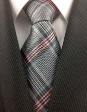 JSM-3997 Mens Grey Silver and Pink Fashionable Necktie Woven
