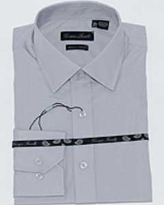 Slim-Fit Dress Shirt Solid Grey