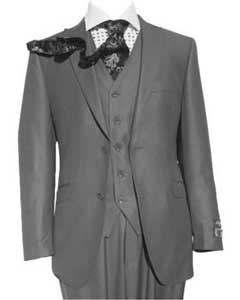 Peak Lapel Grey Three Piece