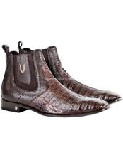 JSM-1756 Mens Vestigium Genuine Caiman Belly Chelsea Brown Boots