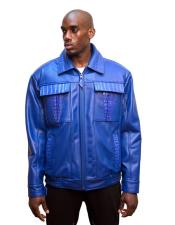 AP602 G-Gator Mens Electric Blue Leather Biker Jacket with