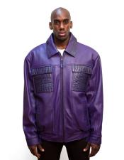 AP599 G-Gator Mens Purple Zip Closure Leather Jacket with