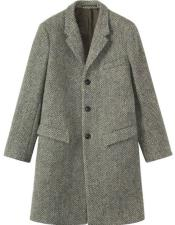 CH1716 Mens Herringbone ~ Tweed 95% Wool Overcoat ~