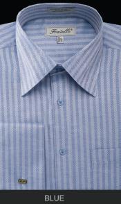 BLE90 French Cuff Dress Shirt - Herringbone Tweed Stripe
