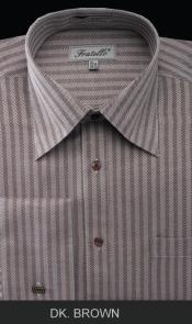 KMH001 French Cuff Dress Shirt - Herringbone Tweed Stripe