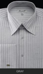 XZW42 French Cuff Dress Shirt - Herringbone Tweed Stripe